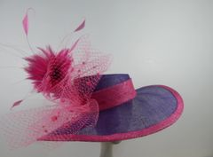 Purple and Hot Pink Sinamay Hat for Kentucky Derby