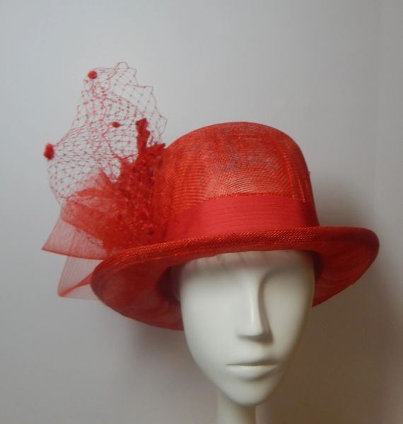 Red Sinamay Top Hat, great for Derby, Ascot or special occasion