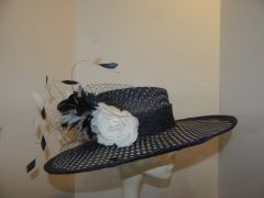Navy and White Polk-a-Dot Sinamay Hat for Kentucky Derby
