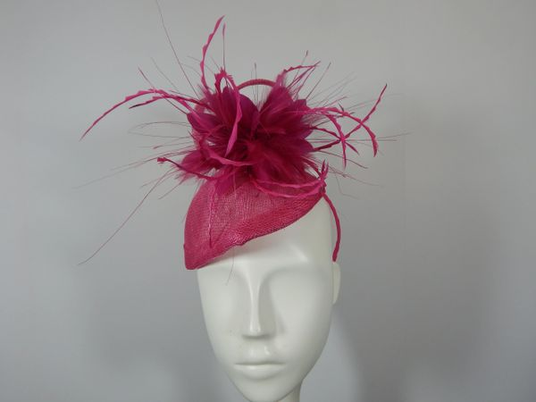 Fuchsia Percher Hat in Sinamay for Kentucky Derby , weddings or special Occasion