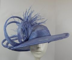 Lilac Sinamay Kentucky Derby Hat with feathers and loops