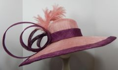Mauve and Grape Big Brimmed Sinamay Hat for the Kentucky Derby