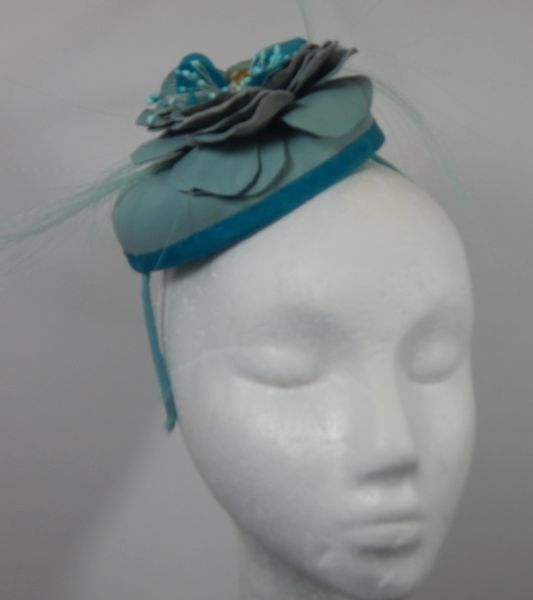 Leather and Silk Mini-hat with Leather Flower, great for any occasion