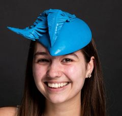"""Royal Blue Leather Percher Hat with Leather """"Feathers"""""""