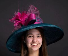 Kentucky Derby Hat, Teal and Hot Pink