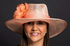 Light Coral Sinamay Fedora with flower for Kentucky Derby, wedding or special Occasion