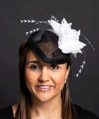 Black Sinamay Percher with black/white feathers