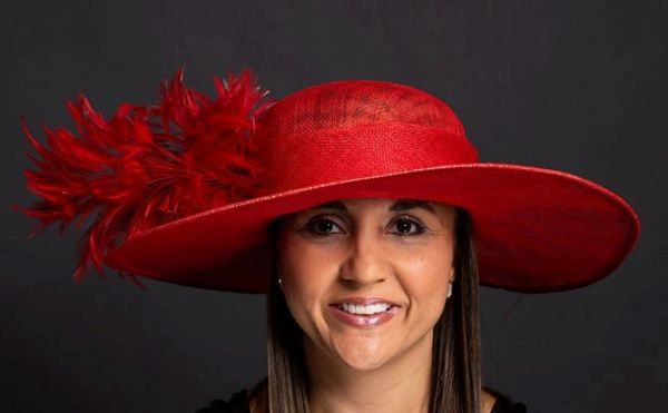 Red Sinamay Hat for special occasion, Made of SInamay with red feathers and silk flower.