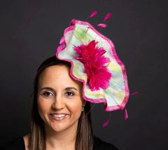 Hand Painted Silk and Sinamay Headpiece with Fuchsia Feathers and Trim. great for Kentucky Derby