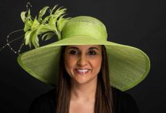 Big Brimmed Lamp Shade Style SInamay Hat with Feathers
