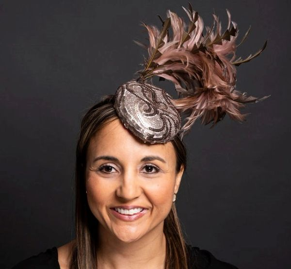 Tear drop shaped Fascinator woth Metalic covered