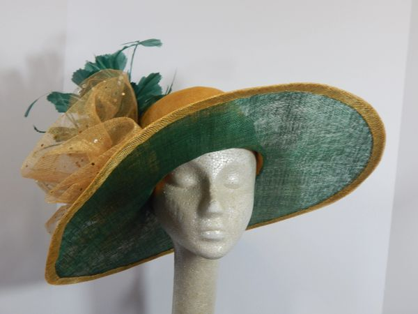 Green and Gold Kentucky Derby Hat, Church Hat, Garden Party