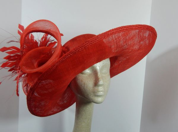 Red Sinamay Hat for the Kentucky Derby, Church or Special Occasion Active