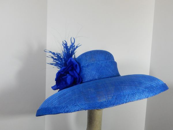 Royal Blue Sinamay Domed Hat for the Kentucky Derby