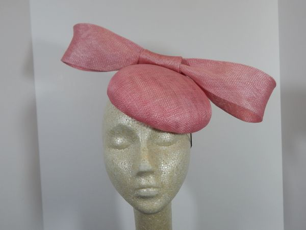 Pink Sinamay Button with Bow, great for the Oaks, Derby, or Garden Party