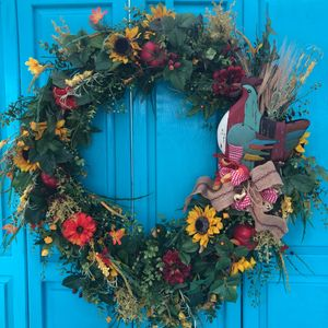 farm wreath fireplace wreath rooster decor Annie Gray