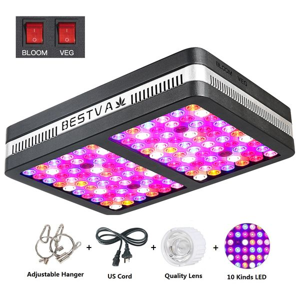BESTVA Elite 1200W LED Grow Light Reflector Full Spectrum Grow Lamp for  Greenhouse Hydroponic Indoor Plants Veg and Flower