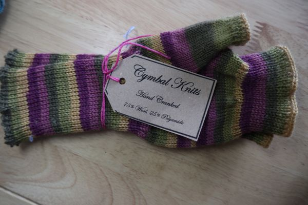 Armwarmers - Purple, mustard and green
