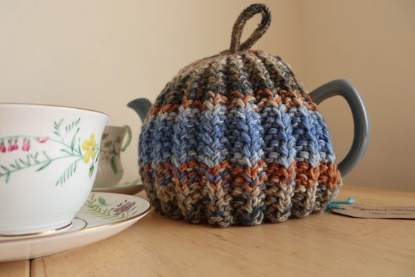 Blue and fawn tea cosy fits a six cup teapot