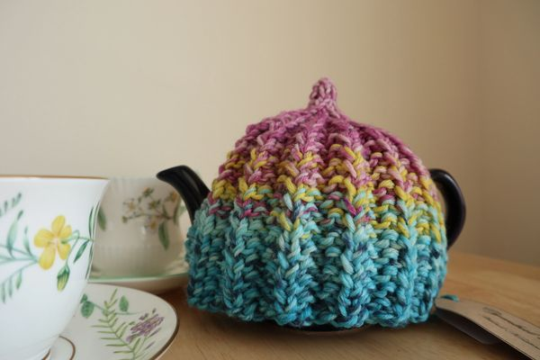 Pink and turquoise tea cosy for a 2 cup pot