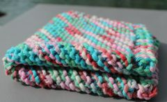 Multi Blue Green Cotton Dishcloth