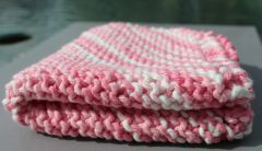 Raspberry and White Cotton Dishcloth