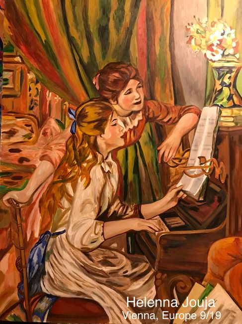 """Jeunes filles au piano"" (English: Young Girls at the Piano,) acrylic and oil-on-canvas. 110x90cm."