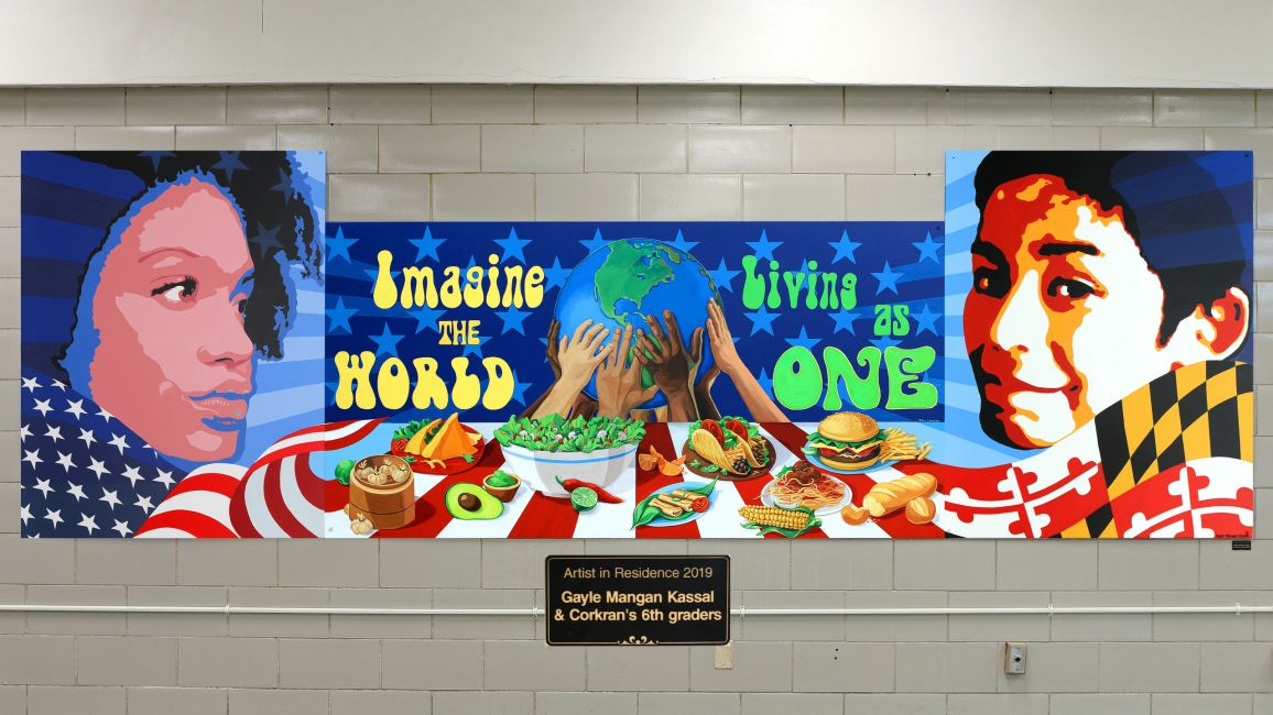 """Living as One"" Collaborative Mural, 16 x 5ft, acrylic on Celtec PVC panels  ©Gayle Mangan Kassal"