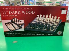"""Classic Game Collection 11"""" Dark Wood 3 in 1 Game Set"""