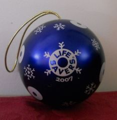 2007 Lifesavers Metal Blue Ball Christmas Ornament