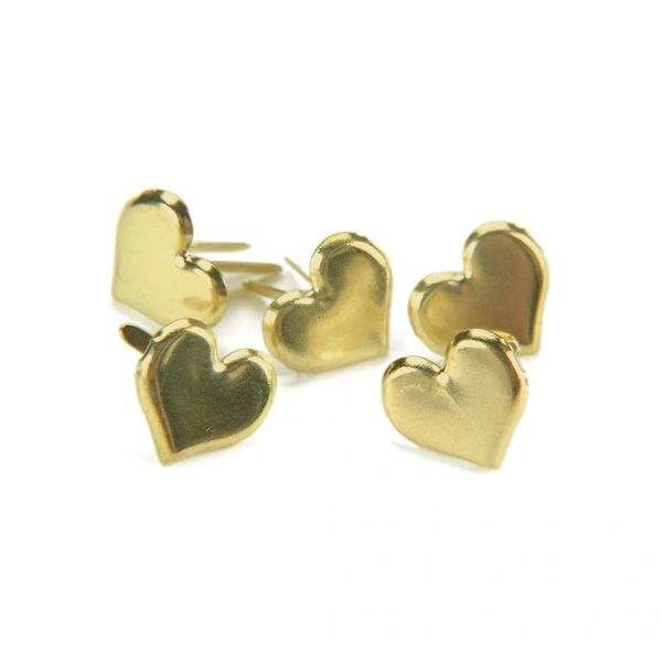 Gold Heart Metal Paper Fasteners