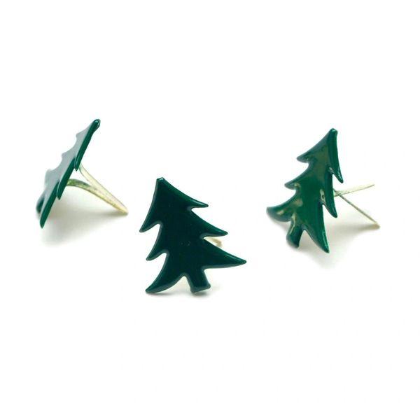 GREEN TREE PAINTED METAL PAPER FASTENERS