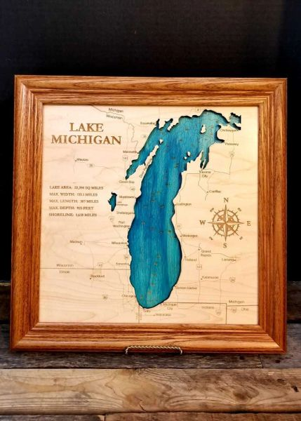 Bathymetric Lake Michigan Map