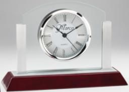 Glass Clock with Rosewood Base - RWS74