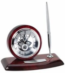 Rosewood Clock and Single Pen Set - RWS64