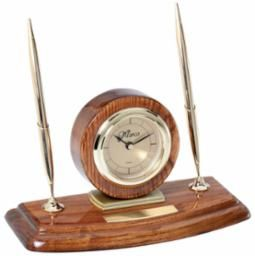 Walnut Clock and Double Pen Set - WC34