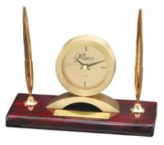 Rosewood Clock and Double Pen Set - RWS90
