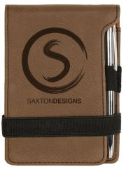 DARK BROWN LEATHERETTE MINI NOTEPAD - GFT215