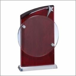 RWS28 - ROSEWOOD CRYSTAL ROUND STAR - CRYSTAL AWARDS
