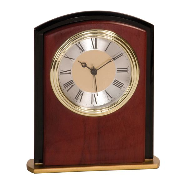 BLACK/ROSEWOOD CURVE CLOCK - MF002