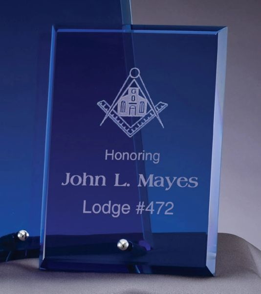 BL306E - BEVELED EDGE GLASS PLAQUE - BLUE