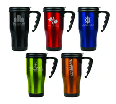 STAINLESS STEAL TRAVEL MUG WITH HANDLE