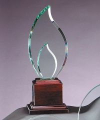 GL33 - ROSEWOOD GLASS FLAME - GLASS AWARDS