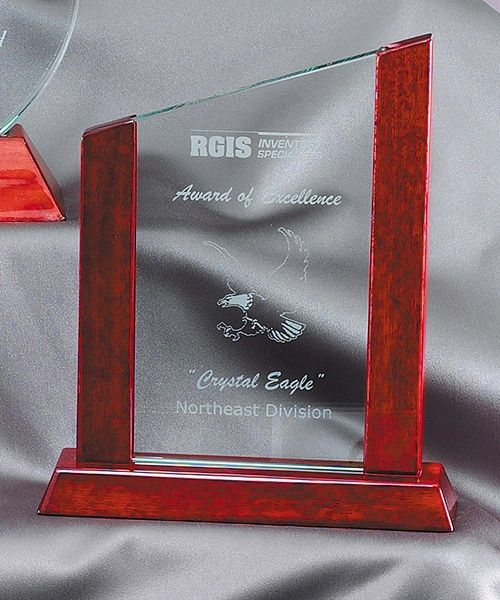 GL32 - ROSEWOOD GLASS SLANT - GLASS AWARDS
