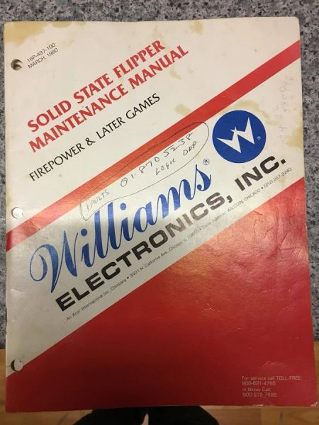 Williams Solid State Flipper Maintenance Manual - Original Used