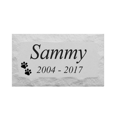 "Personalized Pet Memorial Headstone Grave Marker for cats and dogs. 9"" x 15"" Chiseled Style Block. Engraved. Pre-cast Stone"
