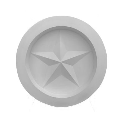 "Round Texas Star Cast Stone Wall Medallion. Outdoor Fireplace Concrete Plaque. 16"" Diameter"