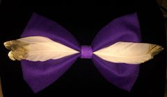 Purple Gold Dipped Goose Feather Bow Tie