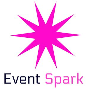 Event Spark official logo. Pink spark going off with two- colored event spark below in pink & black