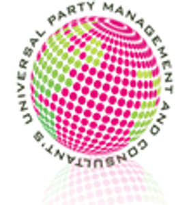 Universal Party Management official logo. Pink and green earth with UPM spelled out circling earth